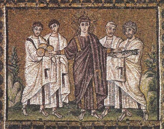 《面包和鱼的奇迹》,约公元520年,镶嵌画,原作位于意大利的圣阿波利纳雷诺沃教堂。