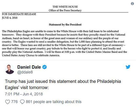 老鹰队白宫行被取消。