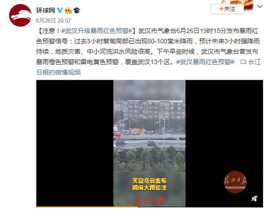 [摩天开户]注意摩天开户武汉升级暴雨红色预警图片