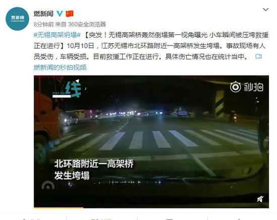 江苏无锡高架桥侧翻第一视角曝光 小车瞬间被压垮