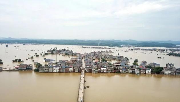 ▲7月11日,江西鄱阳县油墩街镇洪涝景象。新京报记者 王飞 摄影