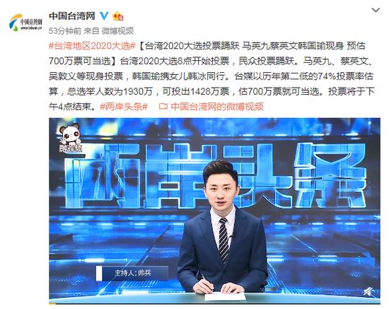 台湾2020选举投票踊跃 预估700万票可当选