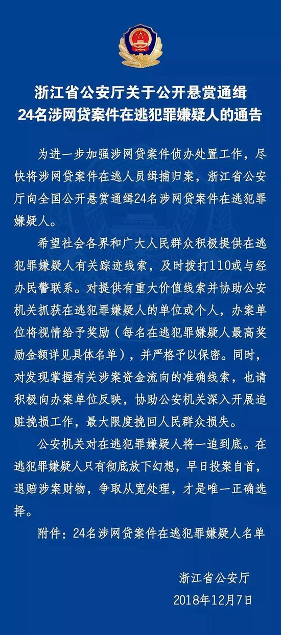 浙江警方通缉24名涉网贷案嫌犯 最高悬赏50万(图)|网贷|嫌犯|在逃