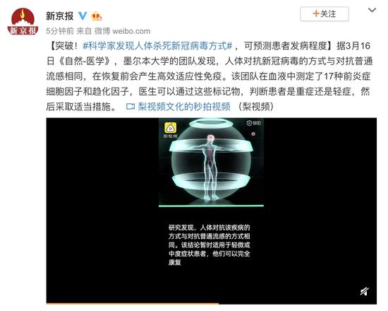 科学家发现人体杀死新冠病毒方式,可预测患者发病程度图片