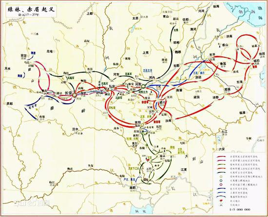 绿林赤眉军前后期震动表示图(图源:百度百科)