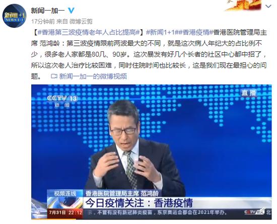 香港医院管理局主席:香港第三波疫情老年人占比提高图片