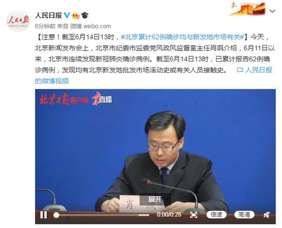 截至6月14日13时 北京累计62例确诊均与新发地市场有关图片