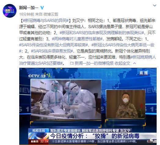 军队前方专家组组长:新冠病毒与SARS的异同图片