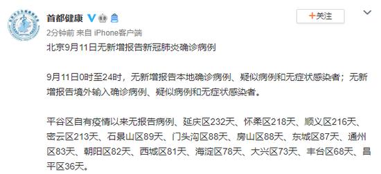 北京9月11日无新增报告新冠肺炎确诊病例图片