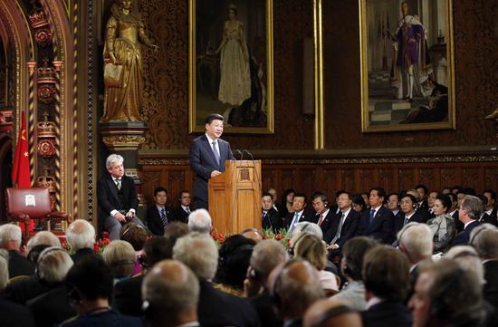 图为:2015年10月20日,国度主席习近平在英国议会揭晓发言。