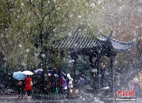 12月5日,浙江杭州,杭州降下2015年入冬第一场雪。林云龙 摄