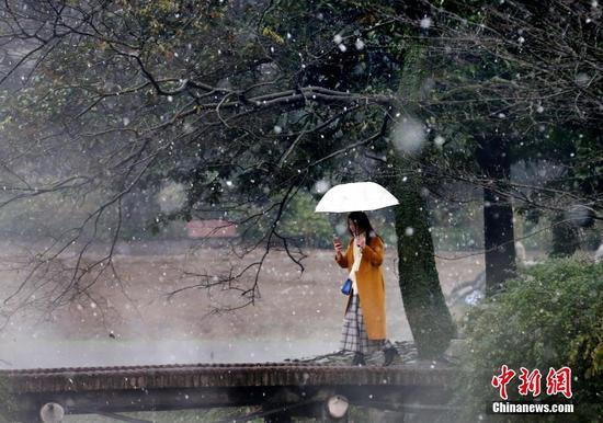 """杭州迎入冬首雪 西湖现""""独钓寒江雪""""美景(图)"""