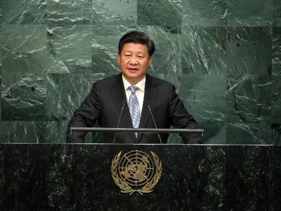 9月28日,习近平在纽约联合国总部出席第70届联合国大会一般性辩论并发表重要讲话。