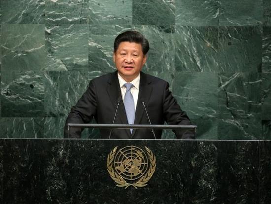 9月28日,国家主席习近平在纽约联合国总部出席第70届联合国大会一般性辩论并发表题为《携手构建合作共赢新伙伴同心打造人类命运共同体》的重要讲话。 新华社记者 庞兴雷 摄