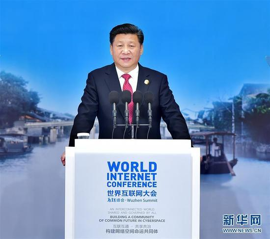 2015年12月16日,第二届世界互联网大会在浙江省乌镇开幕。国家主席习近平出席开幕式并发表主旨演讲。 新华社记者 李涛 摄