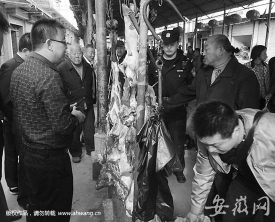 猪腿制成牛腿卖:肉贩将猪肉拼接在牛肉上 用针线缝合