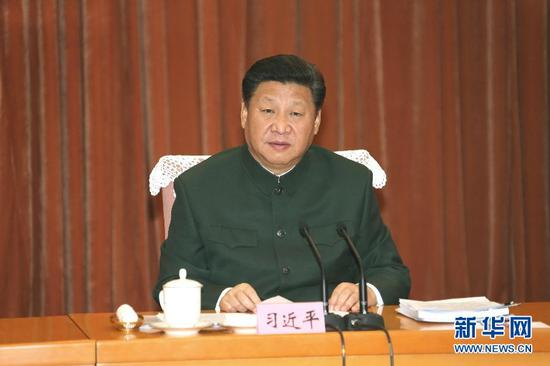 1月11日,中共中央总书记、国家主席、中央军委主席习近平在北京接见调整组建后的军委机关各部门负责同志,代表党中央和中央军委,对新的军委机关成立表示热烈祝贺。这是习近平发表重要讲话。新华社记者李刚摄