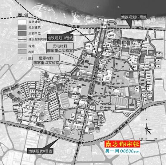 十号线规划下穿中大南校区中轴线。
