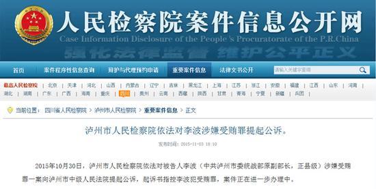 泸州市人民检察院依法对李波涉嫌受贿罪提起公诉