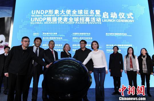 """UNDP(结合国开辟方案署)形象大使""全世界征名暨""UNDP熊猫使者""全世界招募流动启动典礼。 安源 摄"