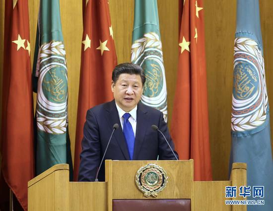 1月21日,国家主席习近平在开罗阿拉伯国家联盟总部发表题为《共同开创中阿关系的美好未来》的重要演讲。 新华社记者 庞兴雷 摄