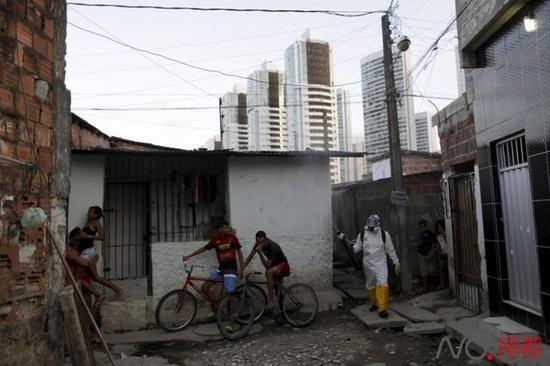 1月26日,在巴西累西腓,一位作业人员(右一)喷洒杀虫剂。在寨卡疫情最严峻的巴西,当局曾经开端尽力灭蚊。新华社/路透