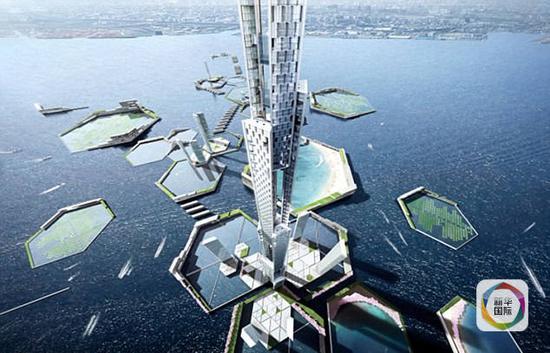 """""""天空英里塔""""设想图。高近1700米,如果建成,将是世界第一。"""