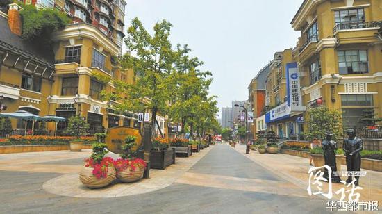 宜宾莱茵香街,敞开的社区由一条骨干道串连。