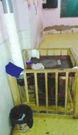 万源市罗文镇创世纪儿童园课堂里用于取暖和的桌式火炉(家长供给)