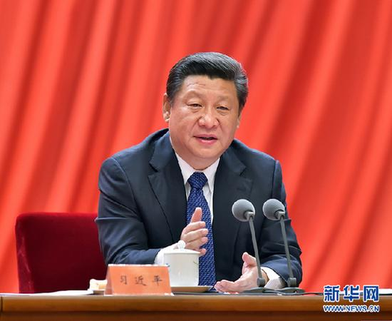 2015年1月13日,中共中央总书记、国家主席、中央军委主席习近平在中国共产党第十八届中央纪律检查委员会第五次全体会议上发表重要讲话。新华社记者李涛摄
