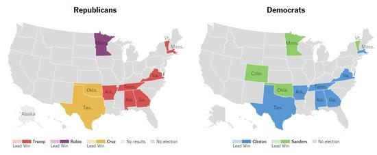 各州归属情况。纽约时报制图