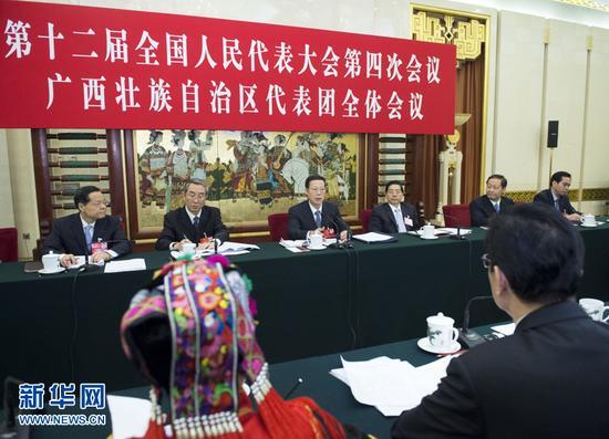 3月7日,中共中央政治局常委、国务院副总理张高丽参加十二届全国人大四次会议广西代表团的审议。 新华社记者王晔摄