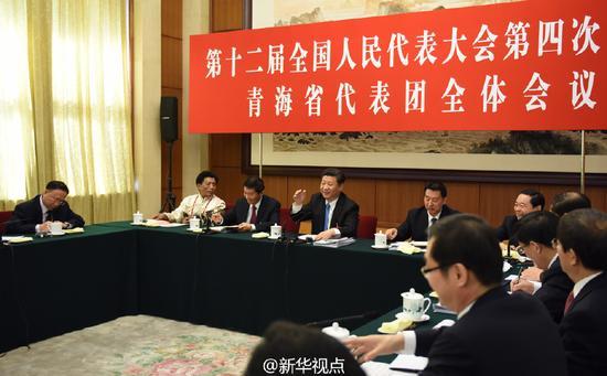 2016年3月10日,习近平参加十二届全国人大四次会议青海代表团的审议。