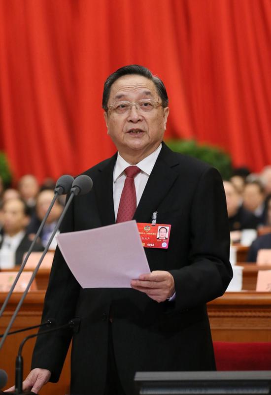 3月14日,全国政协十二届四次会议在北京人民大会堂举行闭幕会。全国政协主席俞正声主持闭幕会并讲话。  新华社记者 兰红光 摄