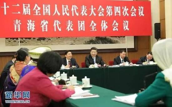 图为:2016年3月10日,中共中央总书记、国家主席、中央军委主席习近平参加十二届全国人大四次会议青海代表团的审议。