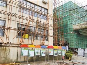 龙岸花园幼儿园外墙已停止粉刷并拆除脚手架,家长要求一并停止一旁会所的外墙粉刷工作。深圳晚报记者 周松 摄