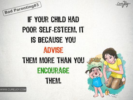 如果你的孩子自信心不足,那是因为你给他的建议多于鼓励。