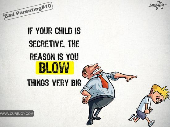 如果你的孩子总是躲躲闪闪,是因为你总是小题大作。