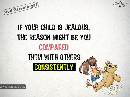 如果你的孩子妒忌心很强,可能是因为你总拿他们和别人相比。