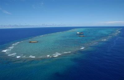 冲之鸟礁空拍图