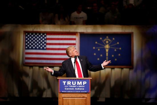 特朗普在印第安纳州举行造势集会