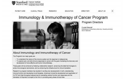 美国斯坦福大学官网关于肿瘤免疫疗法研究课题的介绍。网页截图