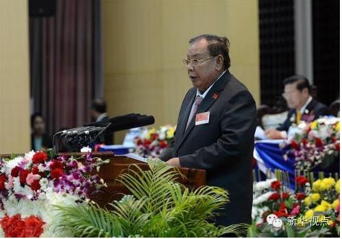 (2016年1月22日,在老挝人民革命党第十次全国代表大会上,本扬当选为老挝人民革命党中央委员会总书记。 新华社发 刘艾伦摄)