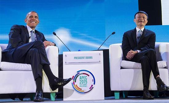 奥巴马与马云在2015年APEC峰会间隙会面。