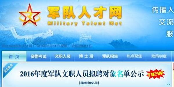 中国人民解放军专业技术人才网截图。