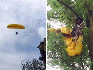 女子乘滑翔伞求婚(材料图像)