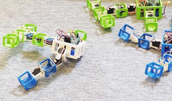 图中右侧就是机器人父母,左侧则是机器人宝宝。图中可以看到,机器人父母分别是蓝色和绿色的,机器人宝宝身上蓝、绿色都有。