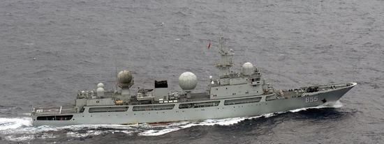 日本媒体获得的中国海军侦查舰照片。(图片来自《产经新闻》)