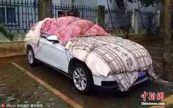 车主为防冰雹砸坏爱车 棉被纸壳齐上阵(组图)