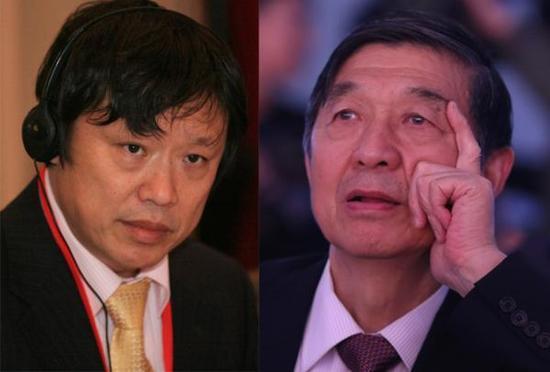 胡锡进(左)与吴建民(右)曾有多次观点交流。